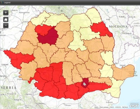 Cu cât nuanţa de roşu e mai intensă, cu atât au fost mai multe voturi pe liste suplimentare.