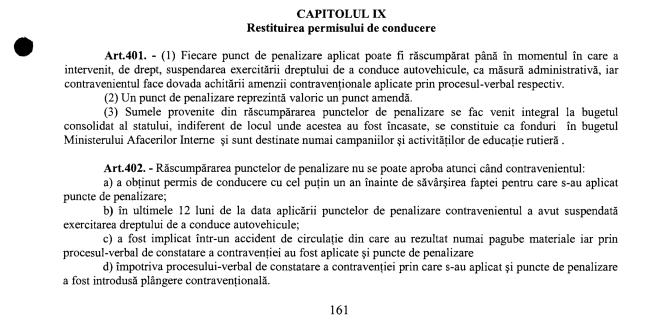 """Și totuși, există! """"Răscumpărarea punctelor de penalizare"""" figurează în proiectul noului Cod Rutier, înregistrat pentru dezbatere la Senat."""