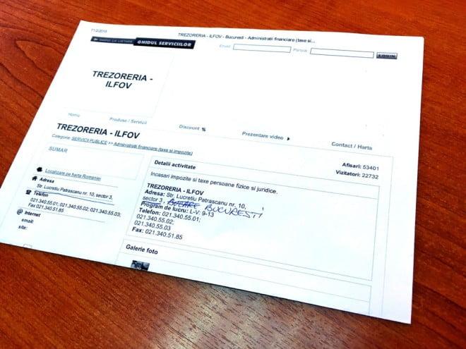 Prevăzător, franţuzul şi-a printat o hârtie cudatele fiscului. Evident, lipseşte exact informaţia esenţială - numărul de cont.