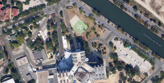 Evident, heliportul se vede din satelit.
